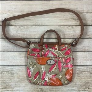 Fossil Key-Per Coated Canvas Bag Purse Floral